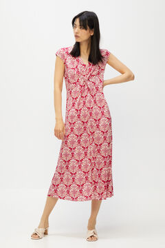 Cortefiel Jersey-knit knot detail dress Natural