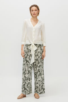 Cortefiel Pleated cropped trousers Ecru
