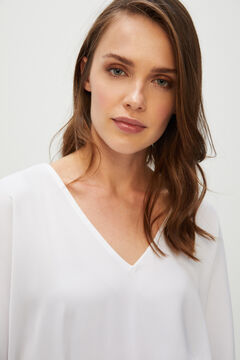 Cortefiel Blouse with batwing sleeves White