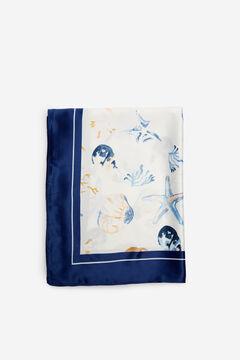 Cortefiel Marine motifs silky feel scarf Blue