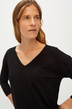 Cortefiel V-neck jumper Black
