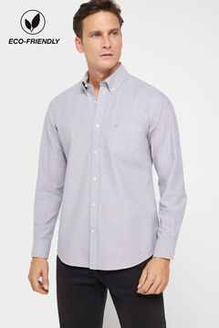 Cortefiel Plain organic cotton Oxford shirt Gray