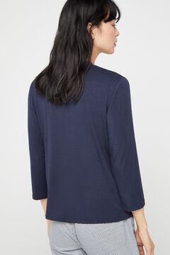 Cortefiel Modal mock turtleneck t-shirt Navy