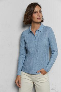 Cortefiel Ribbed knit polo shirt Royal blue