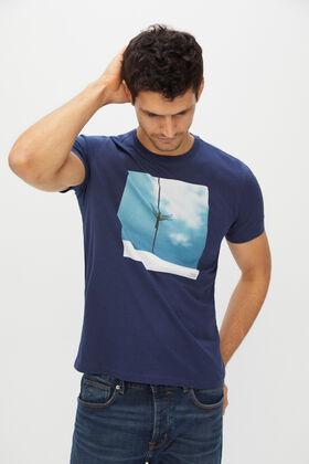 Cortefiel Camiseta estampada manga corta Azul