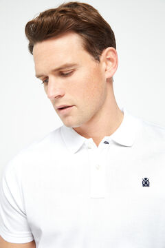 Cortefiel Short-sleeved logo polo shirt White