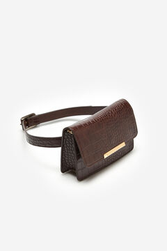 Cortefiel Faux crocodile skin belt Brown