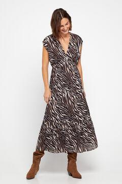 Cortefiel Midi print dress Kaki