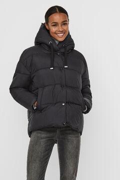 Cortefiel Short down coat with hood Black
