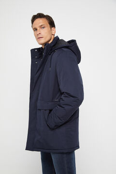 Cortefiel Long hooded technical parka Navy