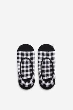 Cortefiel Gingham pinkie socks Black