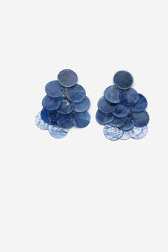 Cortefiel Sequin and beads earrings Blue