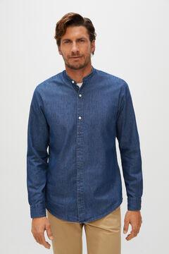 Cortefiel Camisa denim cuello mao algodón orgánico Azul