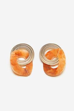 Cortefiel Double hoop resin earrings Yellow