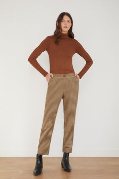 Cortefiel Checked trousers Natural