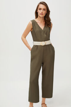 Cortefiel Long printed jumpsuit Gray