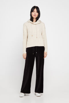 Cortefiel Cropped trousers Black