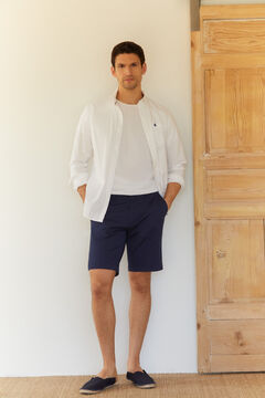 Cortefiel Piqué textured chino Bermuda shorts Turquoise