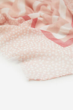 Cortefiel Polka-dot and stripes fine scarf Pink
