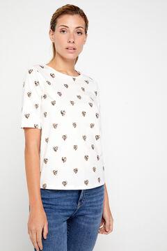 Cortefiel Animal print t-shirt Natural