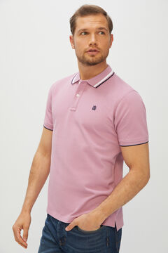 Cortefiel Short-sleeved logo polo shirt Plum