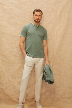 Cortefiel Trousers with extra-comfort tapered elasticated waist Stone