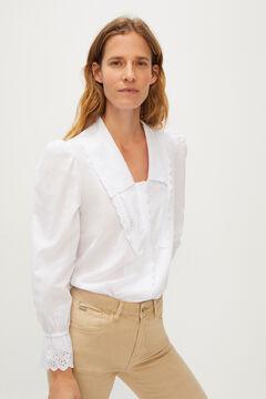 Cortefiel V-neck lapel collar shirt White