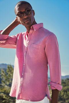 Cortefiel Camisa lisa algodón lino Rosa