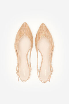 Cortefiel Raffia slingback ballet flat Brown