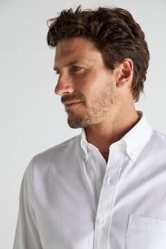 Cortefiel Plain extra soft cotton easy care shirt White