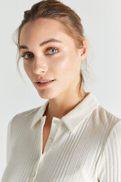 Cortefiel Ribbed knit polo shirt Ecru