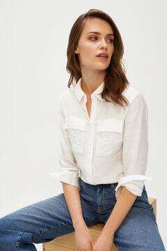 Cortefiel Lapel collar shirt White