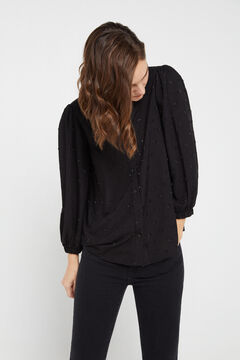 Cortefiel Metallic polka-dot shirt Black
