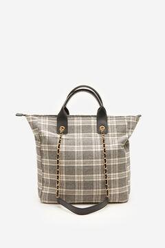 Cortefiel Checked fabric bag Gray