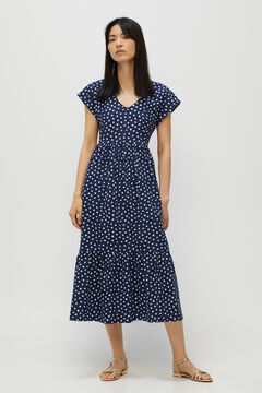 Cortefiel Flounced jersey-knit dress Navy