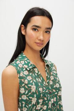 Cortefiel Printed piqué jersey-knit jumpsuit Green