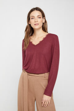 Cortefiel Soft feel lace T-shirt Red