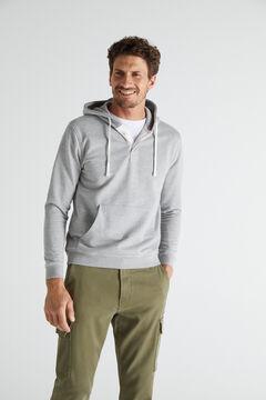 Cortefiel Sweatshirt capuz Cinzento