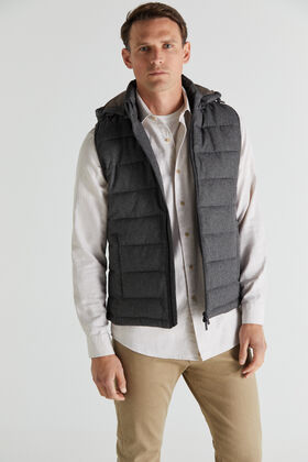 Cortefiel Quilted gilet with hood Gray