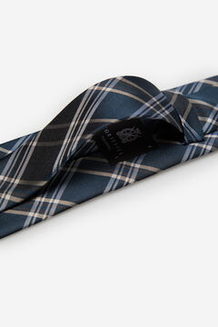 Cortefiel Checked stain-resistant tie Navy
