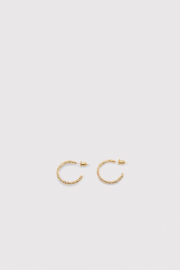 f98c8836fe Cortefiel Textured hoop earrings Yellow