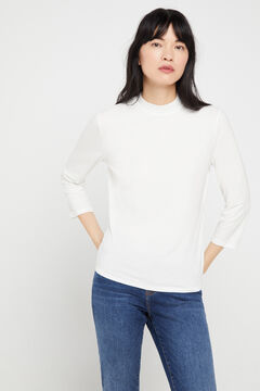 Cortefiel Modal mock turtleneck t-shirt White
