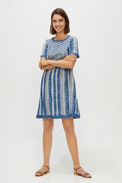 Cortefiel Embroidered denim dress Royal blue
