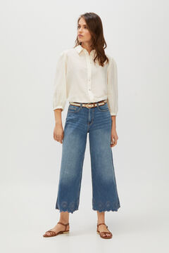 Cortefiel Cropped palazzo jeans embroidered hems Blue jeans