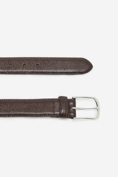 Cortefiel Embossed leather belt Black