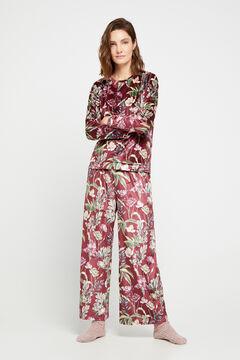 Cortefiel Wide leg cropped velvet trousers Beige