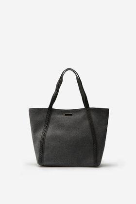 Cortefiel Felt shopper bag Gray