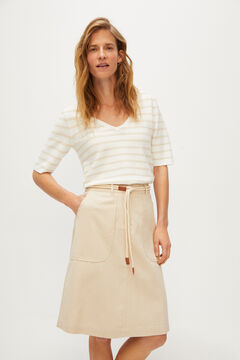 Cortefiel Skirt with cord belt Gray