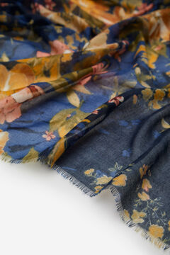 Cortefiel Floral print fine scarf Navy