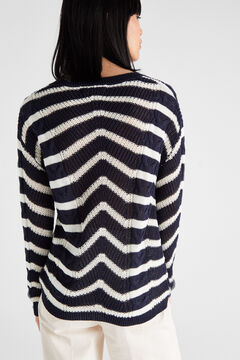 Cortefiel Striped cable knit jumper Navy